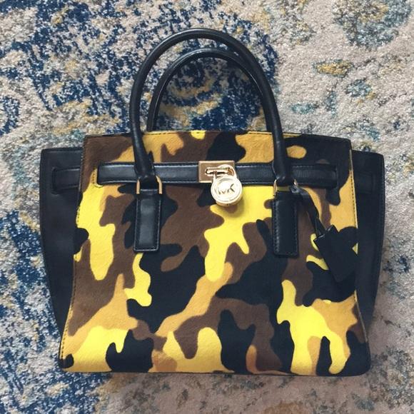 Michael Kors Haircalf Camo Traveler Tote Handbag